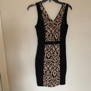 Black and Tan Embroidered Bodycon Dress
